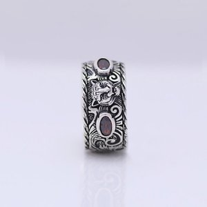 Fábrica al por mayor S925 ST925 Sterling Silver Tide Damas Retro Inlay Tiger Head Ring Hombre Punk Punk Old Ring Amante Joyería Regalo