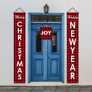 ГОРЯЧАЯ Новогоднее украшение дверь занавес красный и расположение черная решетка двери висит куплет Рождество сцены Рождество куплет T500369