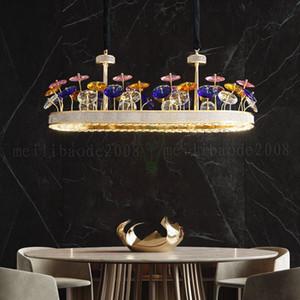 Luxus-LED Kronleuchter Pendelleuchten Lichter für Wohnzimmer Lobby Villa Creative Lighting Hänge K9 Kristall-Befestigungen Große Kunst Kronleuchter