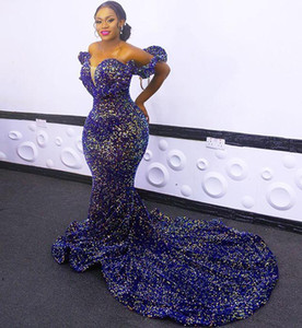 2021 New Sexy African Sequined Evening Dresses Wear Royal Blue Plus Size Off Shoulder Sequins Mermaid Prom Gowns Red Carpet Robe De Soiree