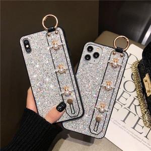 Designer diamante bling telefone caso para iphone 12 pro máximo 12 mini 11 xr xs max se2 casos de telefone com cinta
