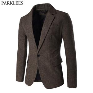 Men's Blazer Jacket Herringbone Sport Coat Smart Formal Dinner Cotton Suits Slim Fit One Button Notch Lapel Casual Coat Coffee 201104
