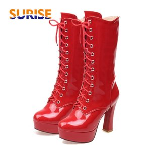 Winter Women Mid Calf Boots Platform Chunky High Heels Round Toe Patent Leather Plush Front Lace Zipper Martin Ladies Half Boots 201009