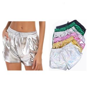 Yeni Katı Renk Çok Yönlü Elastik Lace Up PU Şort Patent Deri Sıcak Pantolon Seksi Kadın Giyim