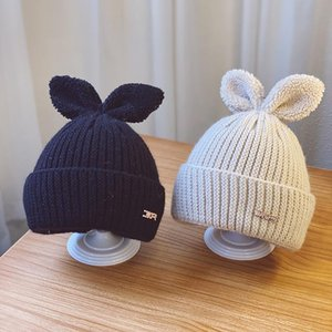 Women Winter Beanies Chunky Lurex Knit Skullcap Cute Ears Scrub Skullies Warm Fleeced Letters Embellished Bonnet Hats