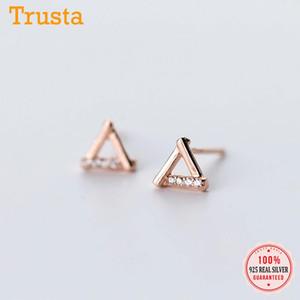 Trustdavis 925 monili d'argento svegli piccolo triangolo Hollow White CZ Stud orecchini regalo per le ragazze Bambini Lady DS204