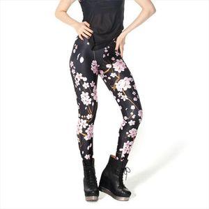 HOT Sexy Fashion Pirate Leggins Digital Printing CHERRY BLOSSOM BLACK LEGGINGS For Women Pants Brands Womens
