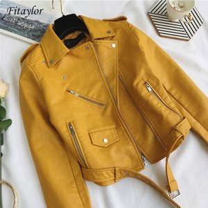 Fitaylor Fashion Women Pu Leather Jacket Bright Color Black Motorcycle Coats Short Faux Leather Biker Jackets Soft Coat Female 201009