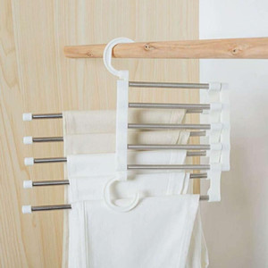 5 Layers Multi Functional Clothes Hangers Pant Storage Cloth Rack Trousers Hanging Shelf Non-slip Clothing Organizer Storage Rack LX3634