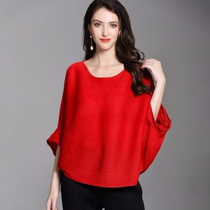 LANMREM High Quality New Fashion Loose Pleated T-shirt Round Collar Batwing Half Sleeve Pleated Women's Big Size Tops YE112 201013