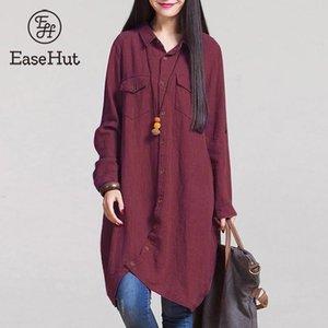 ESEASHTHUT vintage 5xl plus size blusa mulheres outono inverno mangas compridas camisas casuais curvas para baixo botão longo botão y200402