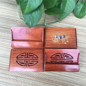 Fashion Unisex Wooden Business Name Id Credit Card Holder Case Wood Card Storage Box Home Office Supplies