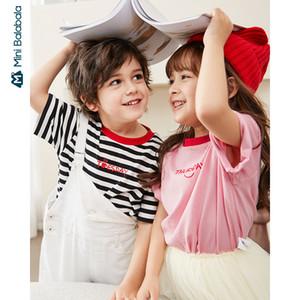Mini balabala Jungen und Mädchen Kurzarm-T-Shirt 2020 Sommer Baumwollbeiläufigen gestreift Volltonfarbe Woche kurze Ärmel 1006