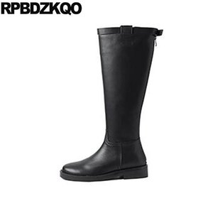 Boots Block Equestrian Shoes Brand Women Winter Genuine Leather Ladies Knee High Black Round Toe Chunky Tall Chinese Long Riding