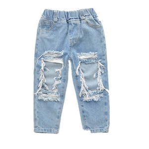 Girls Jeans Kids Jeans Fashion Hole Loose Boys Trousers Casual Denim Tassels Baby Pants Children Clothes Kids Clothing 1-6Y B3858