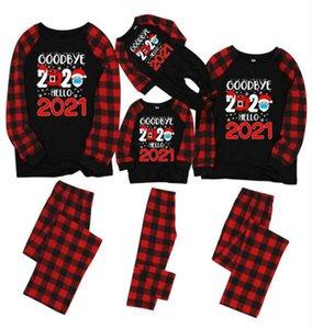 Il bambino scherza mamma papà Plaid Natale Pigiama Famiglia Partita Addio 2020 Hello Maschera di Santa Clause pagliaccetto camicetta T shirt pantaloni vestiti E110202