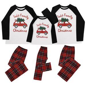 Pai-filho Família Pajamas Design Xmas Natal Matching manga comprida Tops calças xadrez dois adultos Vestuário peça Crianças Outfit E110203