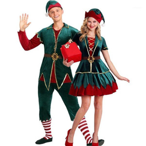 Christmas Pajamas Family Couple Matching Clothes Elf Mommy and Me Xmas Cosplay Costume Men Women Girl Boy Family Look1