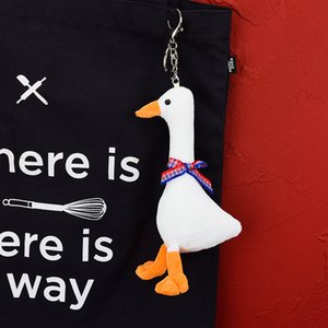 Big White Goose Schoolbag Pendant Net Red Creative Cute Cartoon Keychain Plush Doll Small Ornament