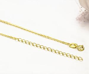 Windshow argento 925 w / Giallo Oro Colore Rolo croce collana catena Donne 45 + 5cm Jewelry kolye Collares collier ketting