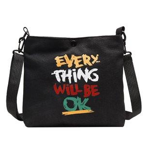 Women Black Bags 2020 Fashion Alphabet Canvas Bag Letter Print Wild Wide Shoulder Strap Messenger Zipper Bags #Zer