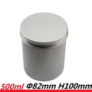 Vela de aluminio del cilindro de 500 ml Vacío Ronda Pot Botella 17oz 500g de gran tamaño de tornillo superior de acero Latas de estaño cilindro de almacenamiento para el polvo