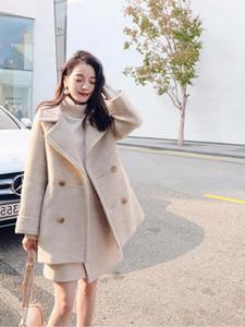 2020 Printemps femmes Manteau en laine avec jupe à deux pièces Ens Bouton solide de poche à manches longues Femmes Veste et manteau chaud Femme Pardessus