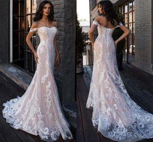 Luxury Nude Lining Mermaid Wedding Dresses 2021 Off Shoulder Full Lace Applique Lace-up Beach Bridal Gowns vestido de novia