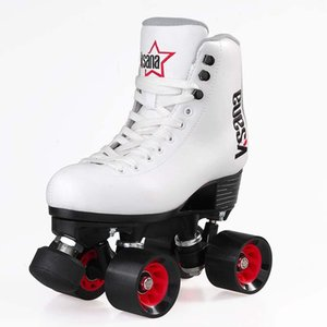 Quad Skates Double Row Roller Skates Unisex PU Leather Shoes For Lovers Two Line 39*58mm Wheels Professional Patines