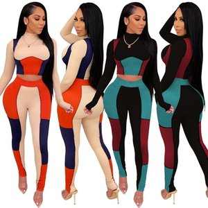 Spring Autumn Patchwork 2 Piece Set Women Tracksuit Long Sleeve Tee Crop Top Pants Suit Sports Home Matching Sets Y2k Clothing