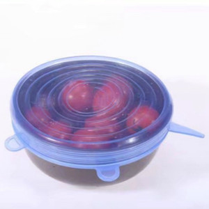 6 Pcs Set Reusable Silicone Stretch Lids Universal Lid Bowl Pot Lid Silicone Cover Kitchen Cooking Food Fresh Bowl Cover VTKY2102