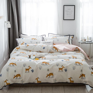 Four Pieces 100% Cotton 40s Ribbed Satin Small Fresh Bedding Sets Honeybee Deer Include Duvet Cover+Bed Sheet+Pillowcases