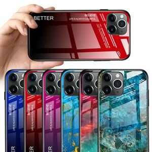 2020 Новый телефон чехол для iPhone 12 Pro Max / 12 Pro Luxury Marble закаленное стекло Назад Чехол для телефона Крышка мобильного телефона Anti-падения Защитная крышка