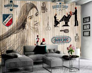 Beautiful Haircut Retro Minimalist Wallpaper Barber Shop Background Wall Decoration HD 3d Mural Wallpaper