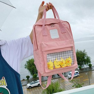 2020 Cute Transparent Students Schoolbag School Backpack Women Female Cartoon Shoulder Bags Fashion Canvas Backpacks Bag r8IU#