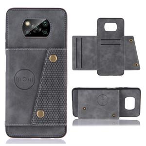 Estuche de armadura de cuero PU para Xiaomi POCO X3 Caja NFC Caja de tarjetas de crédito de negocios de lujo para POCO X3 NFC Coque