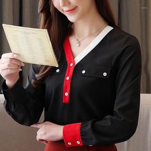 fashion woman blouses 2020 long sleeve blouse women V-neck chiffon blouse shirt tops women blusa feminina clothes C9721