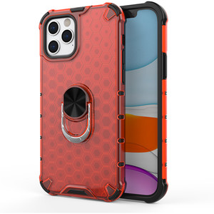 2 in 1 Hybrid TPU+PC Armor Case for Iphone 12 Pro Honeycomb Clear Shockproof Case Cover with Ring Holder