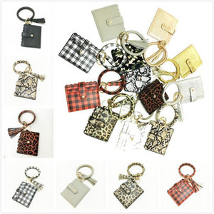 Fashion Leopard Snakeskin Plaid Clutch Big O Wristlet Bracelet Credit Cards Wallet Key ring Tassel Keychain DHD2723
