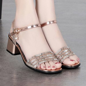 Shiny Crystal Square Heels Sandals Women Black Gold Fashion Sequin Ankle Strap Gladiator Shoes Woman Summer Sandalias