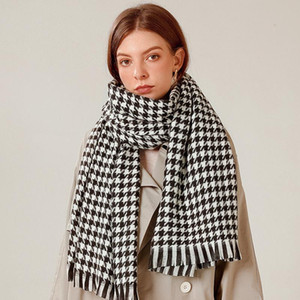 OLOEY Winter Houndstooth Thickness Scarf For Women Vintage Cashmere Warm Tassel Shawl Fashion Cold-proof Ladies Scarf Streetwear