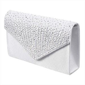 Evening Bags Womens Silk face Diamond Clutches Shoulder Bag Evening Bridal Prom Satchel Handbag white Drop Shipping