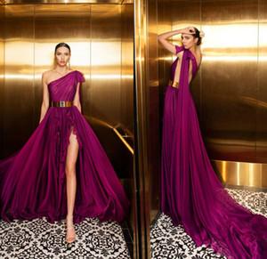 Julie Vino Uva Prom Dresses una spalla sweep treno cinghia di metallo da sera sexy alta Split convenzionale lungo del partito del vestito abiti de soiree
