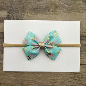 Printed Silk Fabric Bows Nylon Headbands For Kids Princess Girls Boutique Elastic Hair Bows Hairband Customized Hair Accessories