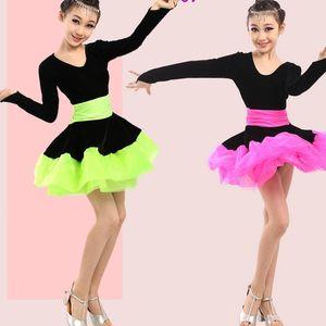 Enfants Green Ballroom Concurrence Robe de danse Latin Dance Costumes Girls Dance Port Costumes Kids Waltz Flamenco Tenues