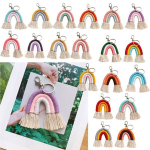 Keychains Jewelry Hanging Gifts1 Women Weaving Bag Keyring Macrame Key Holder Handmade Charm Car Boho Rainbow For Obgmo