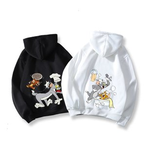 Cat and mouse joint name sweater woman 2019 new autumn   winter fashion brand top hooded printed couple long sleeve coat womanEWWS22WF