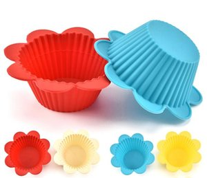 Flower shape Cupcake Liners mold Kitchen Craft Colour Silicone Cupcake Cases silicone Cake bakeware