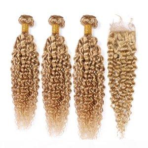 # 27 Miel rubia rizado rizado pelo humano trama con cierre claro marrón Malassian rizado Human Hair Weave 3bundles con cierre de encaje 4x4