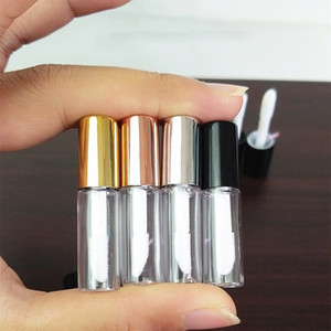 1,2 ml Esvaziar Cosmetic plástico transparente Lip Gloss Tubos Lip Batom tubo Mini Sample Container Com Cap de Ouro Rose
